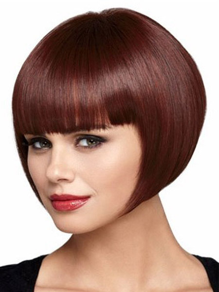 Burgundy Blunt Fringe Heat-resistant Fiber Short Wig For Women