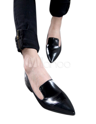 prix compétitif 1c350 e213b Loisirs noir bout pointu brevet PU cuir mocassins pour femme