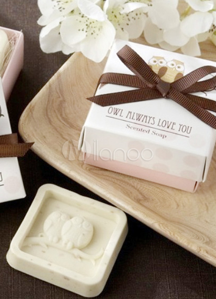 2-Piece White Owl Pattern Soap Favors for Wedding
