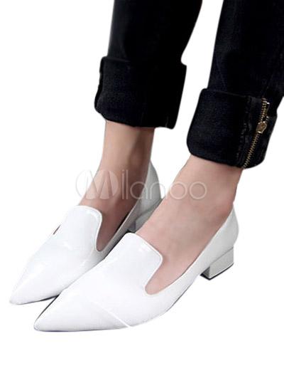 grossiste 5ca91 2dd98 Loisirs blanc bout pointu brevet PU cuir mocassins pour femmes