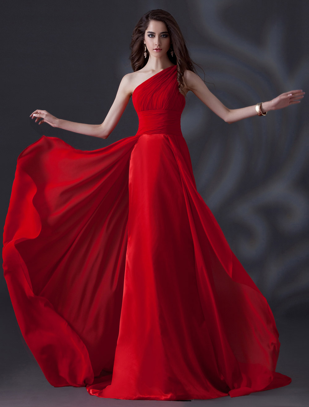 One-Shoulder Pleated Chiffon Red Elegant Bridesmaid Dress