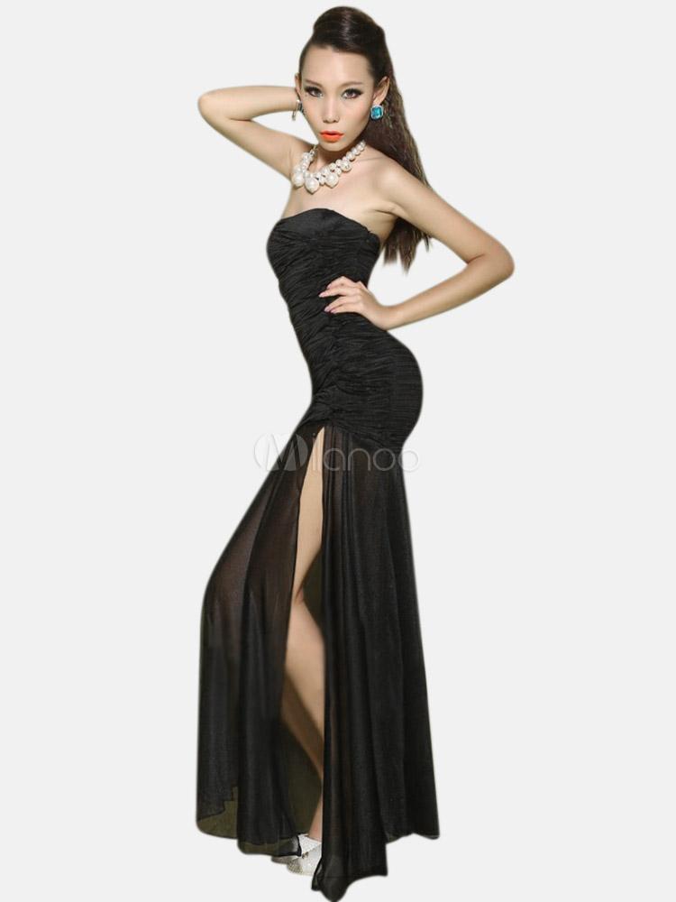 Vestiti estivi lunghi · Abito lungo nero monocolore trasparente sexy in cotone  misto con spacco frontale -No.1 ... c0081de3d8e