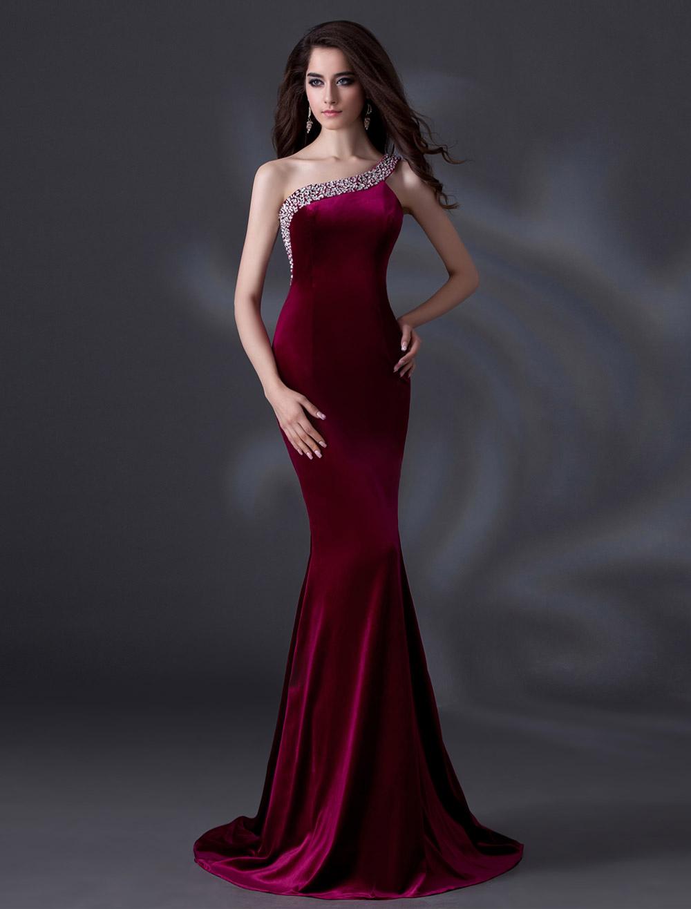 Elegant Burgundy One-Shoulder Beading Mermaid Velvet Evening Dress ...
