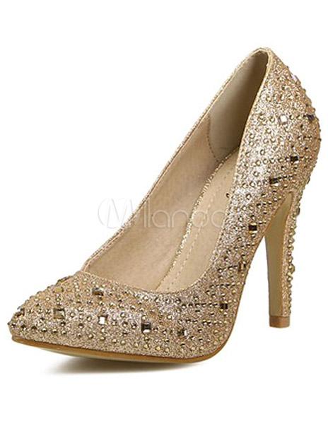 Cristales Zapatos Puntiagudos Color Con Doradoplateado De zSUMpVq