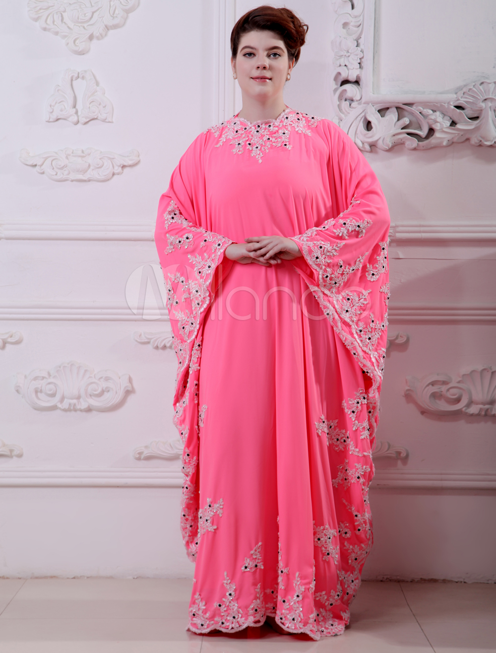 Buy Pink Beading Jewel Neck Long Sleeves Chiffon Evening Dress for $185.39 in Milanoo store