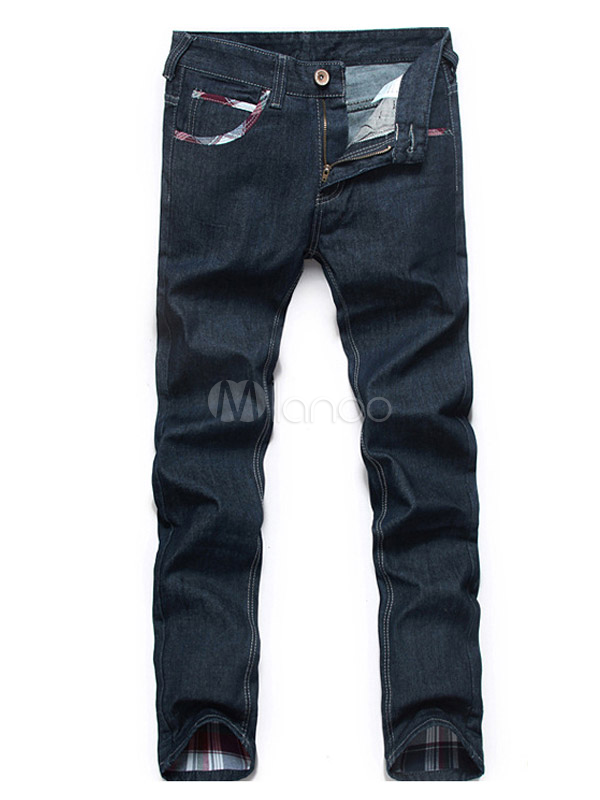 Deep Blue Solid Color Denim Quality Straight Men's Jeans