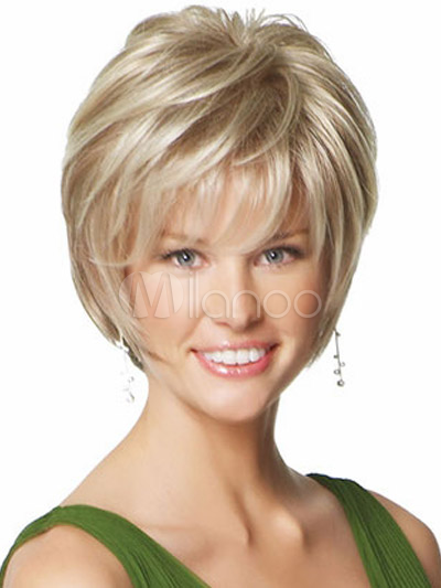 Blonde Heat-resistant Fiber Side Parting Short Wig For Woman