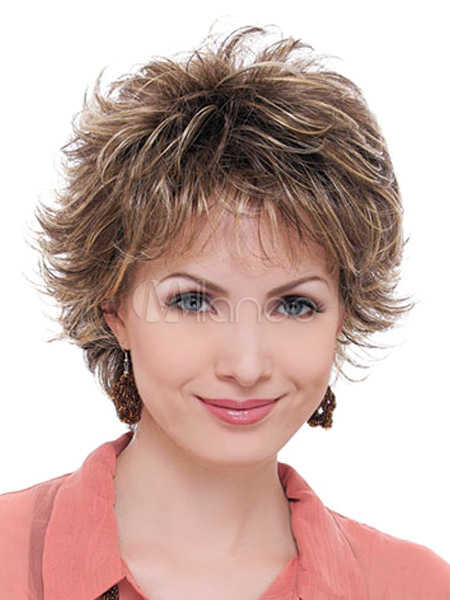 Light Brown Fiber Curly Short Wig For Women Cheap clothes, free shipping worldwide