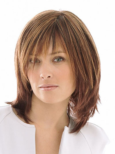 Brown Heat-resistant Fiber Side Parting Quality Women's Medium Wig Cheap clothes, free shipping worldwide