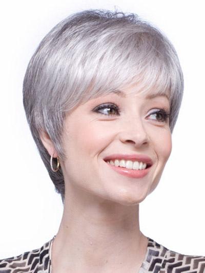 Perruque femme courte droite grise dégradé