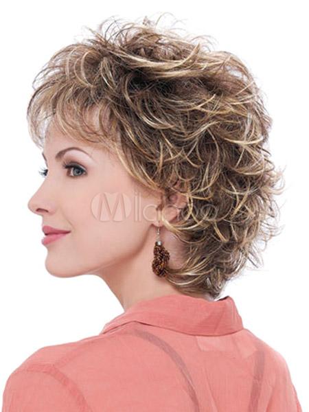 Perruque femme frisée courte marronne claire dégradée - Milanoo.com