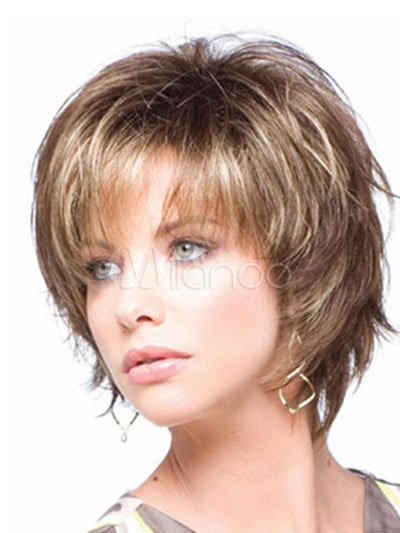 Women Hair Wigs 2018 Natural Flaxen Full Volume Curls Short Synthetic Wigs