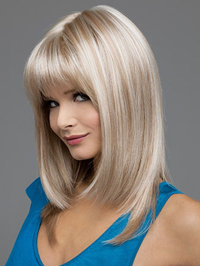 Blond Hair Wigs 2018 Women Straight Mid Length Synthetic Wigs With Bangs