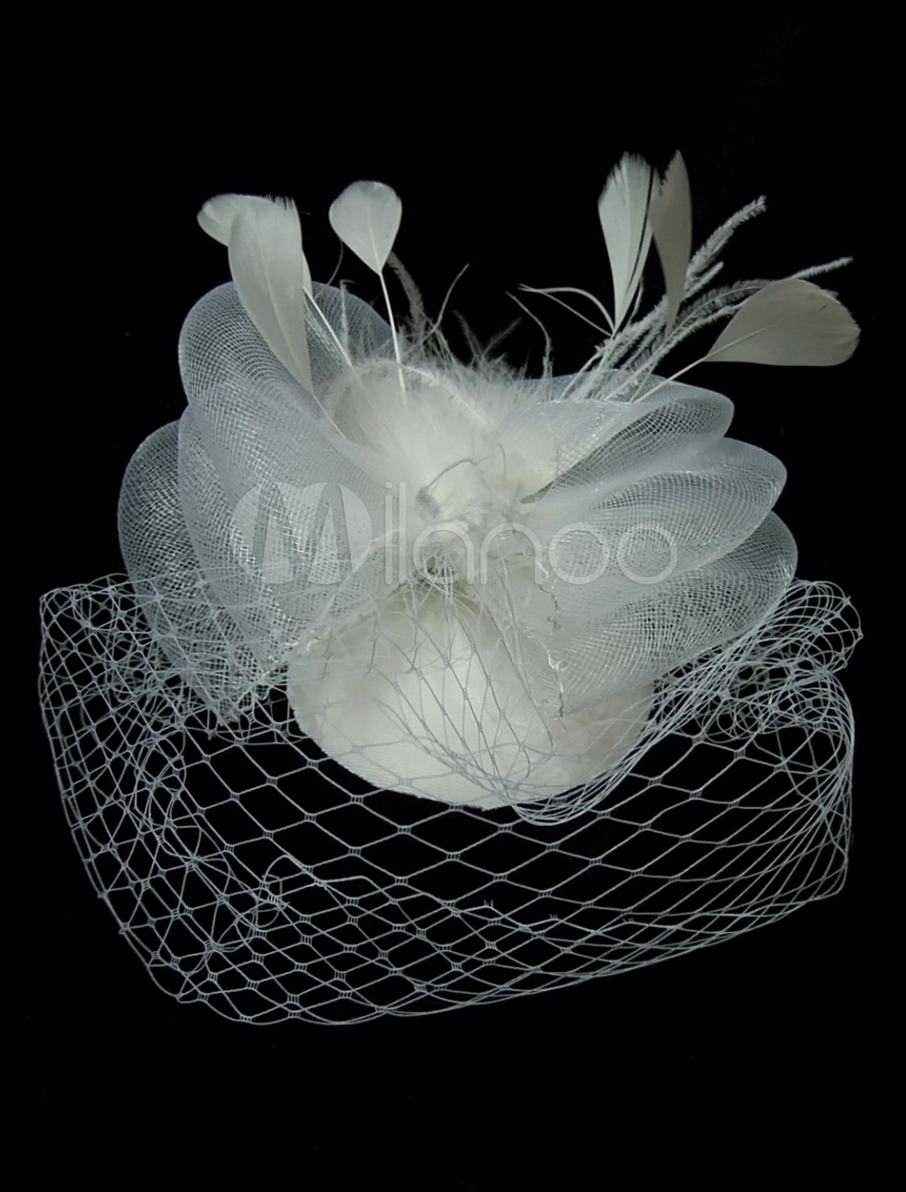 Ivory Feather Mesh Pretty Head Flower for Wedding