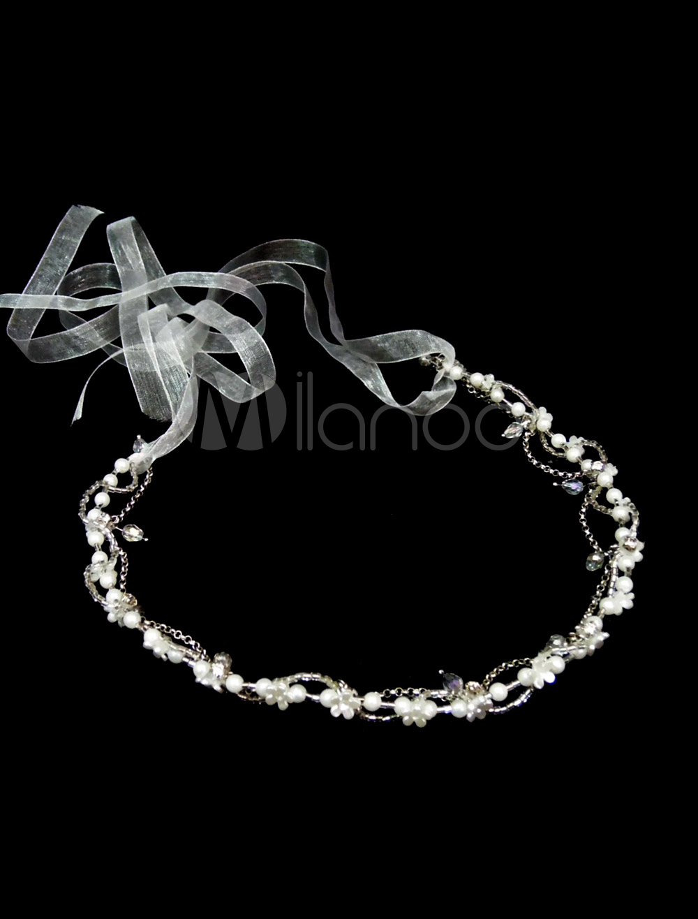Buy wedding headband white headpieces ribbons crystal Pearls beaded bridal hair accessories for $8.99 in Milanoo store