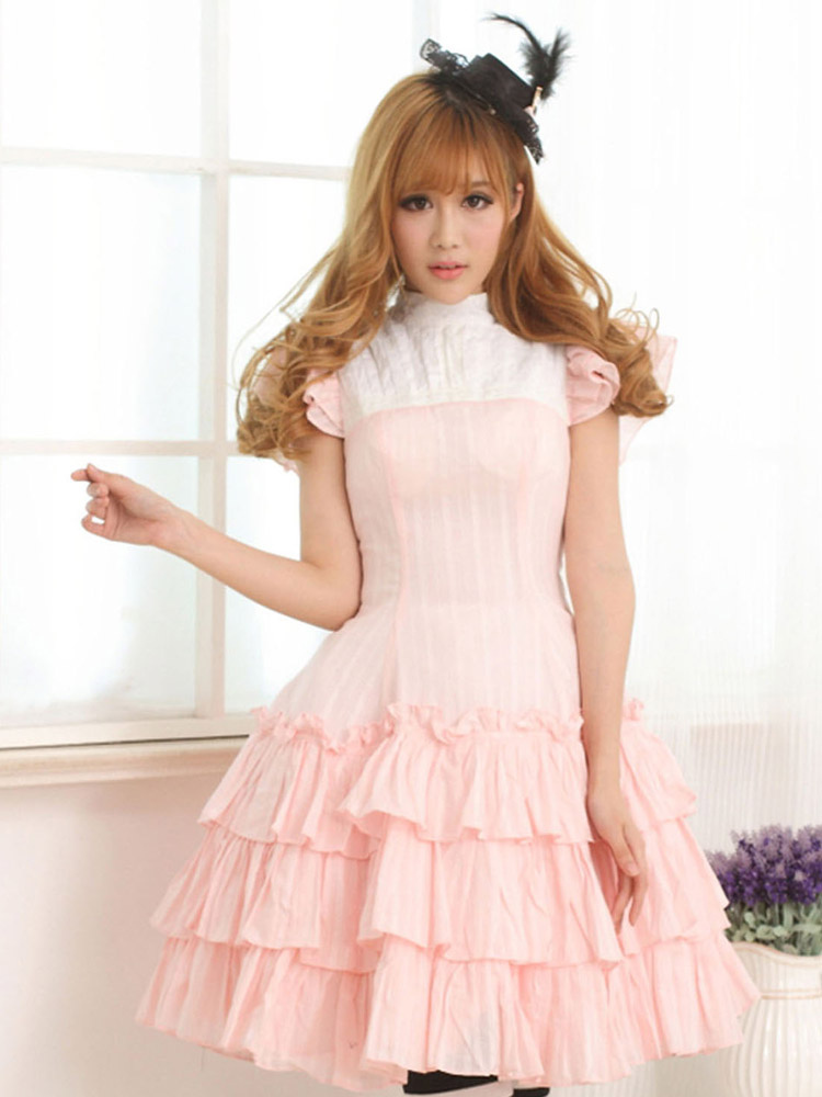 Pink Cotton Lolita One-piece Dress Layered Ruffles Lace Up