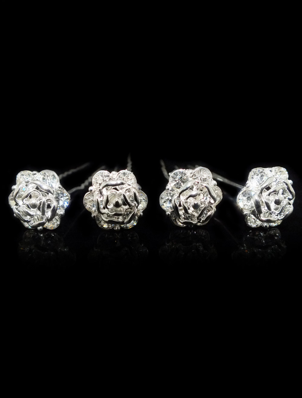 wedding hair pins  Rhinestone flower Bridal hair accessories 4 pieces