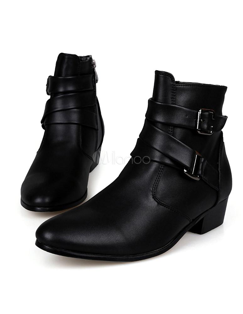 ... Boots homme en PU noir unicolore avec boucle-No.3 ...