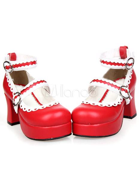 Sweet PU Leather Buckles Platform Round Toe Lolita Shoes