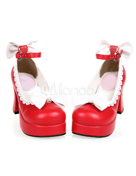 Sweet Chunky Heels Shoes Platform White Bows Trim Ankle Strap