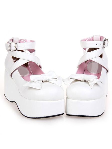 White High Platform Lolita Shoes PU Ankle Straps Bow Decor Round Toe