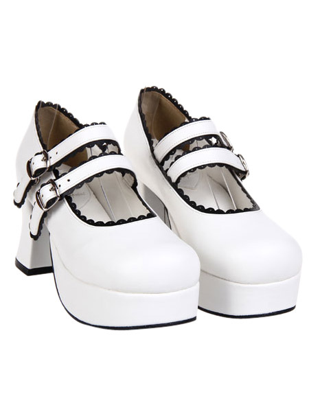 Elegant White Round Toe PU Leather Platform Lolita Shoes