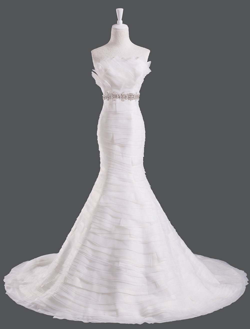 Elegant Ivory Rhinestone Organza Feather Mermaid Wedding Dress with Scalloped-Edge Neck