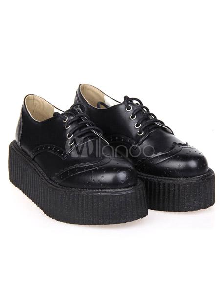 High Quality Black PU Leather Platform Round Toe Lolita Shoes