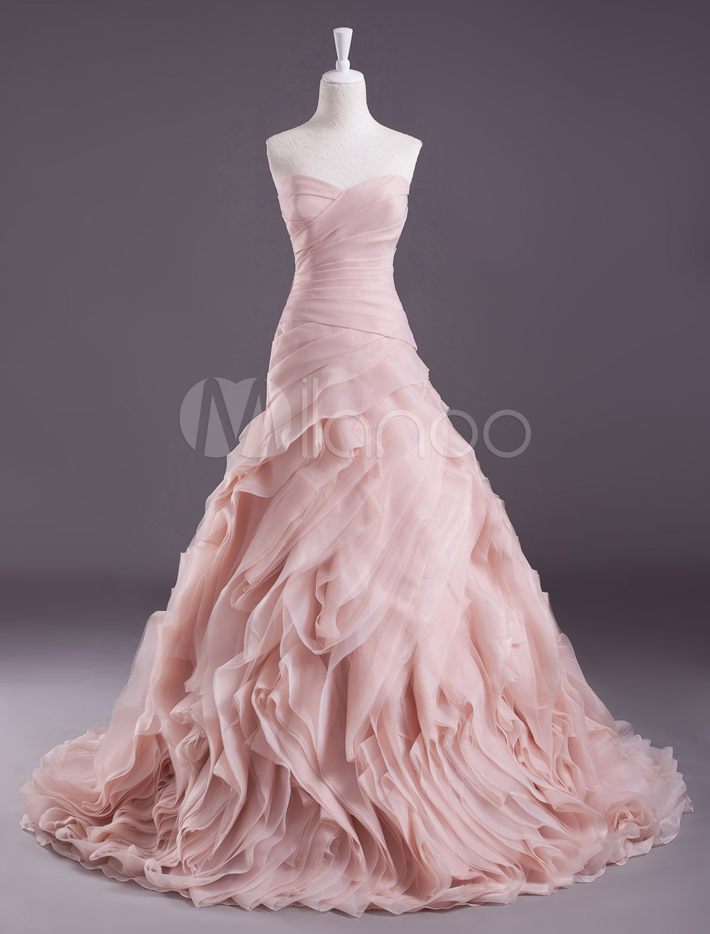 Pink A-line Strapless Sweetheart Neck Tiered Sweep Wedding Gown