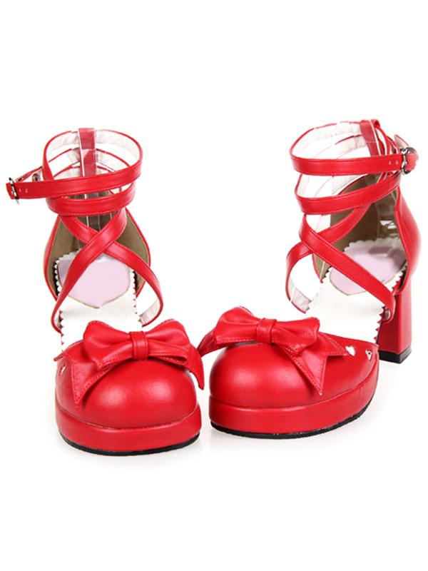 Criss-Cross Platform PU Leather Round Toe Lolita Shoes