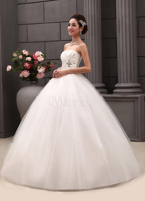 robe de mariage exquise boule en tulle avec paillettes