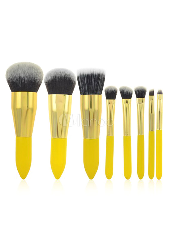 Buy Quality Yellow Sharp and Precise Application Corduroy 8 Pieces Makeup Brush Sets for $15.63 in Milanoo store