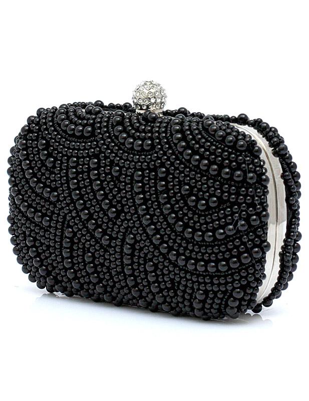 Connu Pochette de soirée à sequins noir imprimé brillant avec perles à  DR12