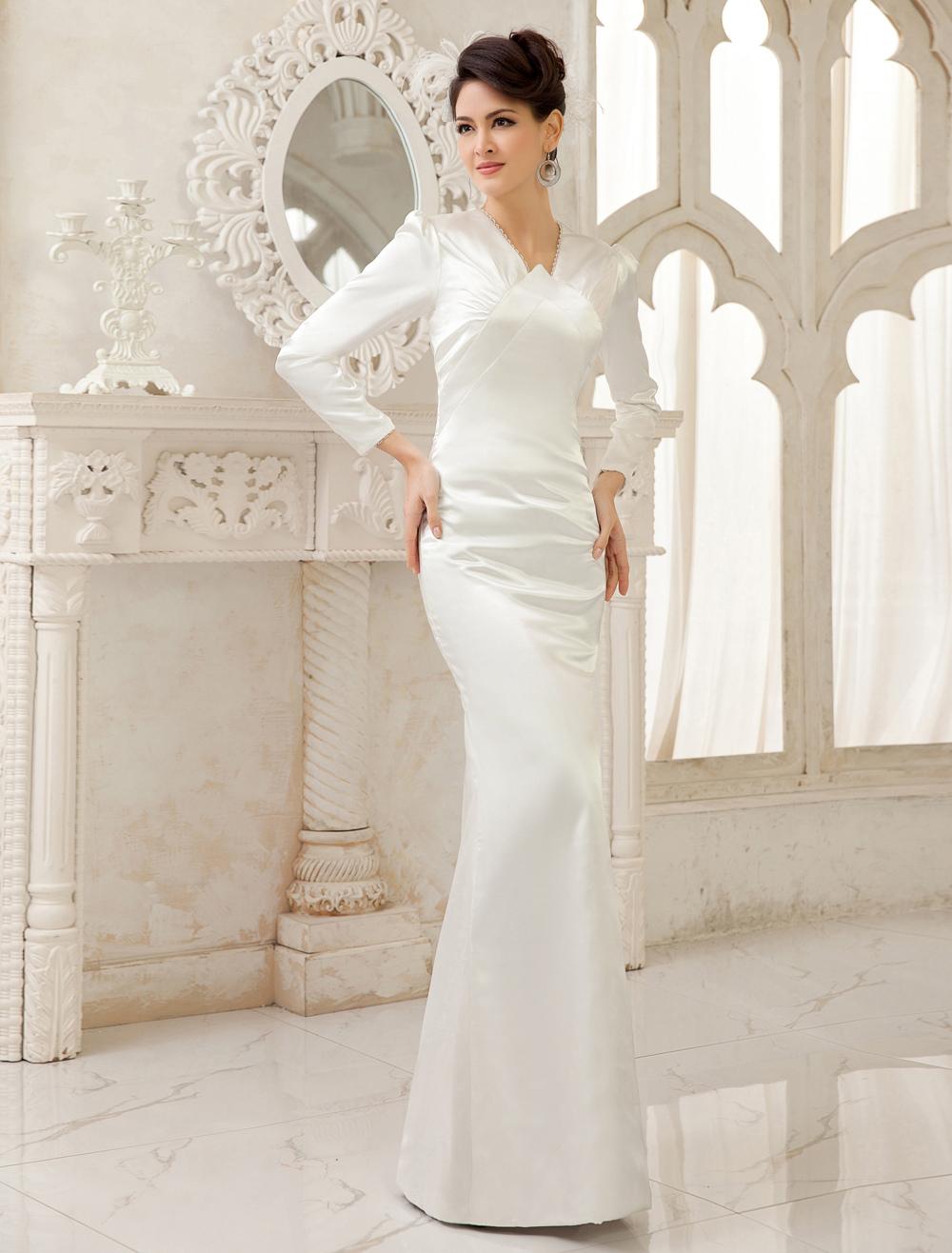 Ivory Sheath V-Neck Floor-Length Bridal Wedding Dress Milanoo