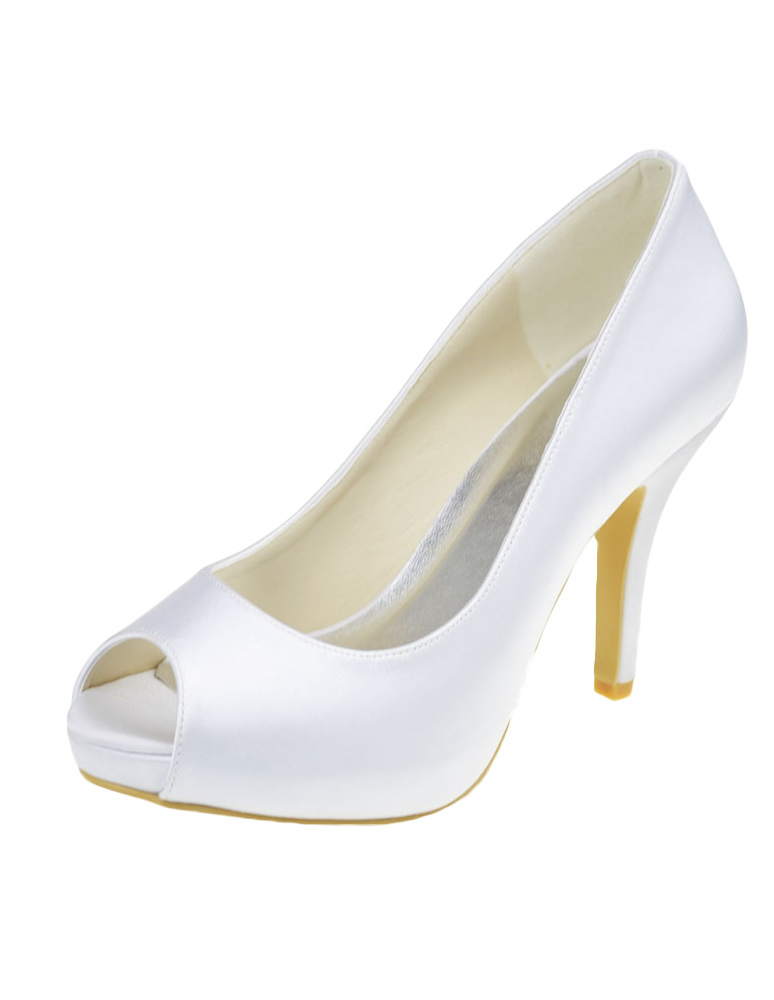 Fabulous White Silk And Satin Peep Toe Pumps For Bride