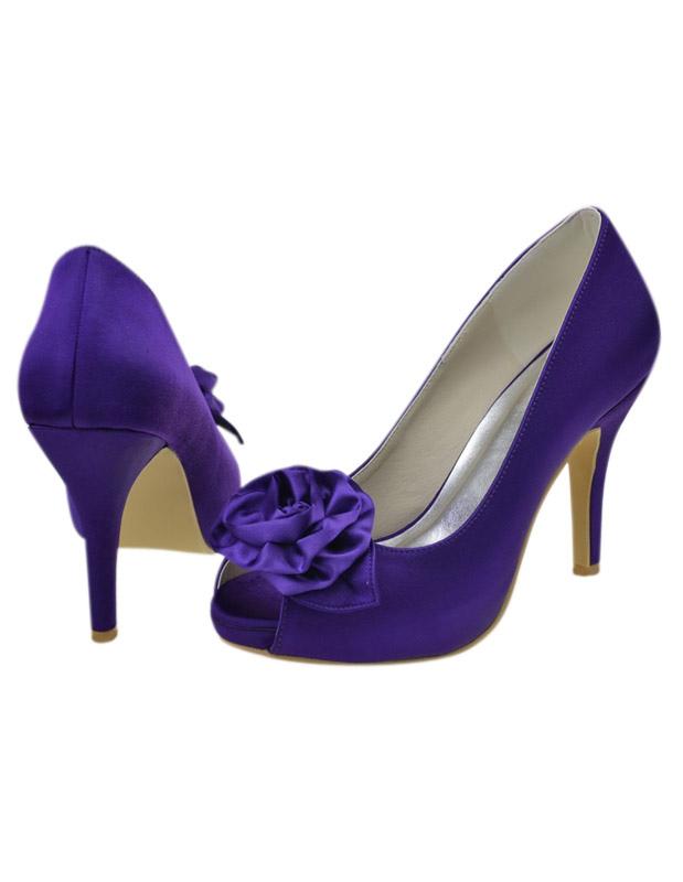 Zapatos peep toe de novia de seda y satén morado con flor - Milanoo.com