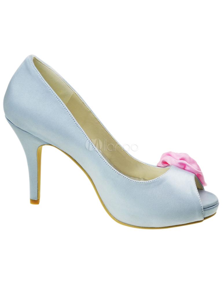 Zapatos peep toe de novia de seda y satén plateado con flor rosa YWLtuFu9