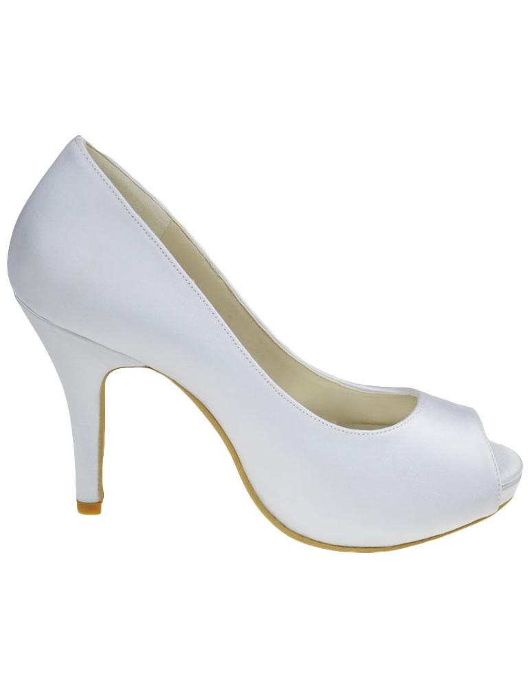 Zapatos peep toe con plataforma de seda y satén blanco ZqMhVuYhj