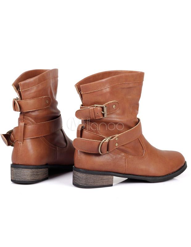 2820bedaf26 ... Dedo del pie redondo hebilla PU cuero moda planas botines para mujer  -No.3 ...