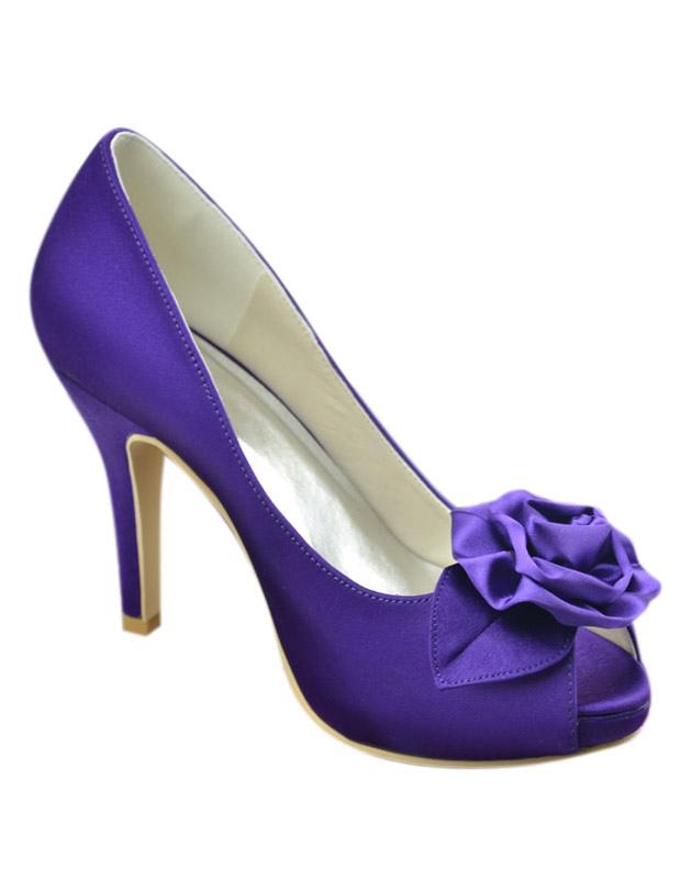 Zapatos de seda y satén con flor RQAHo
