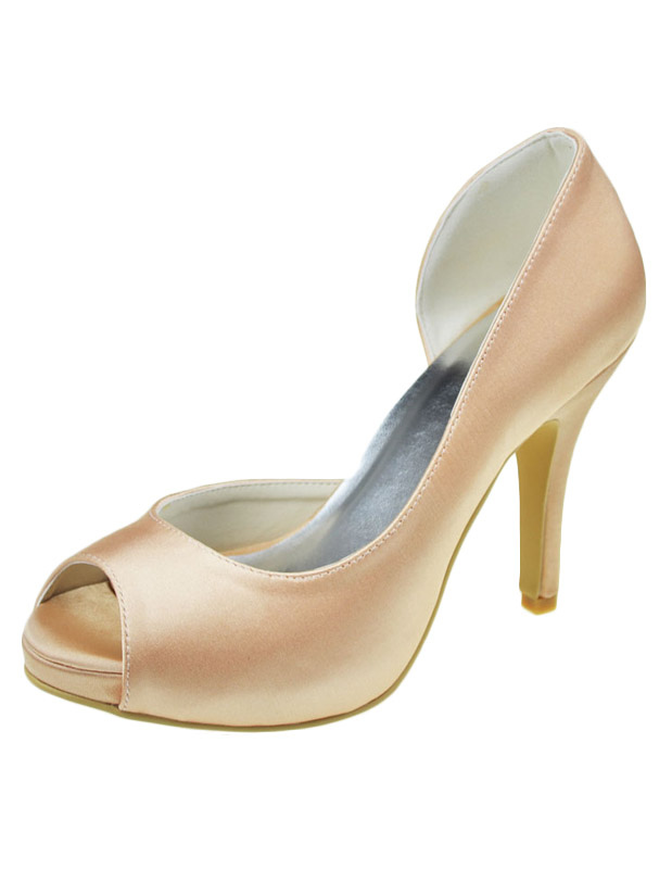 Buy Pretty Champagne Silk And Satin Peep Toe Bridal Pumps for $80.74 in Milanoo store