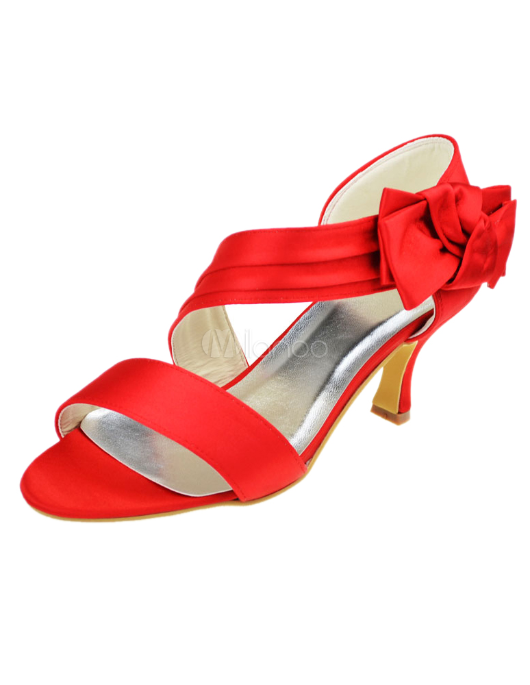 Buy Red Velcro Peep Toe Silk And Satin Beautiful Evening and Bride's Sandals for $55.19 in Milanoo store