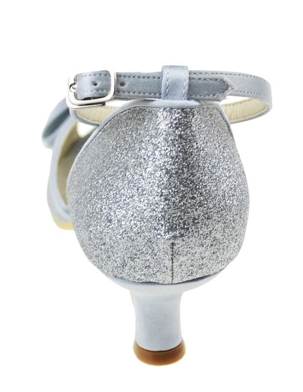 ... Chaussure de mariée en tissu de paillettes argent à petit talon -No.4  ... da0aee297b74
