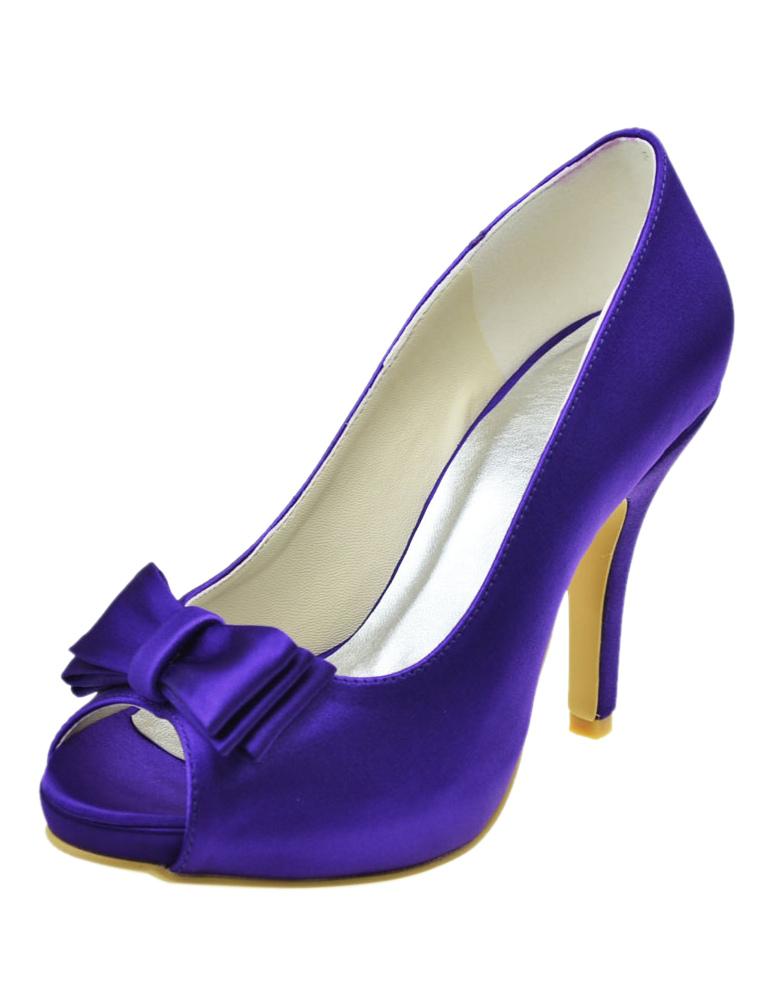 Zapatos peep toe con plataforma de seda y satén azul con lazo rooVbu