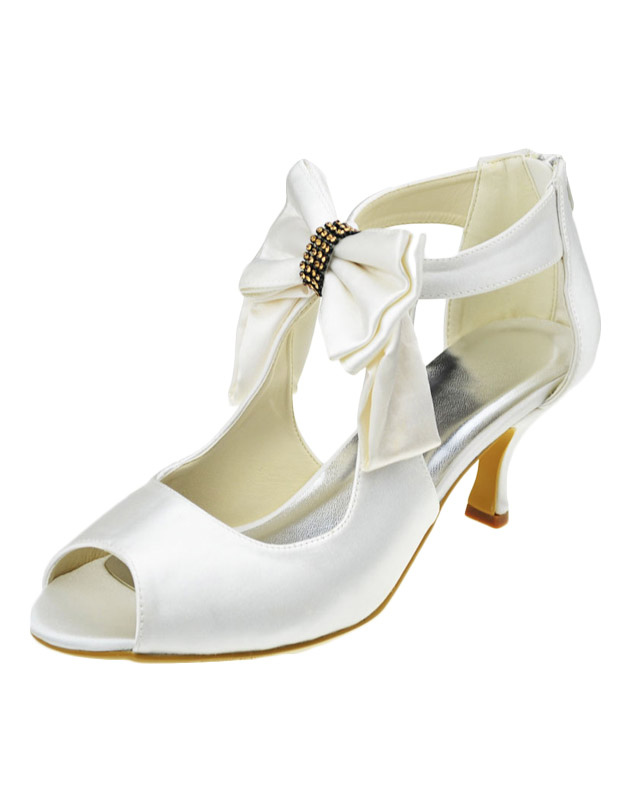 Buy Ivory Bow Peep Toe Silk And Satin Luxury Evening and Bride's Sandals for $66.49 in Milanoo store