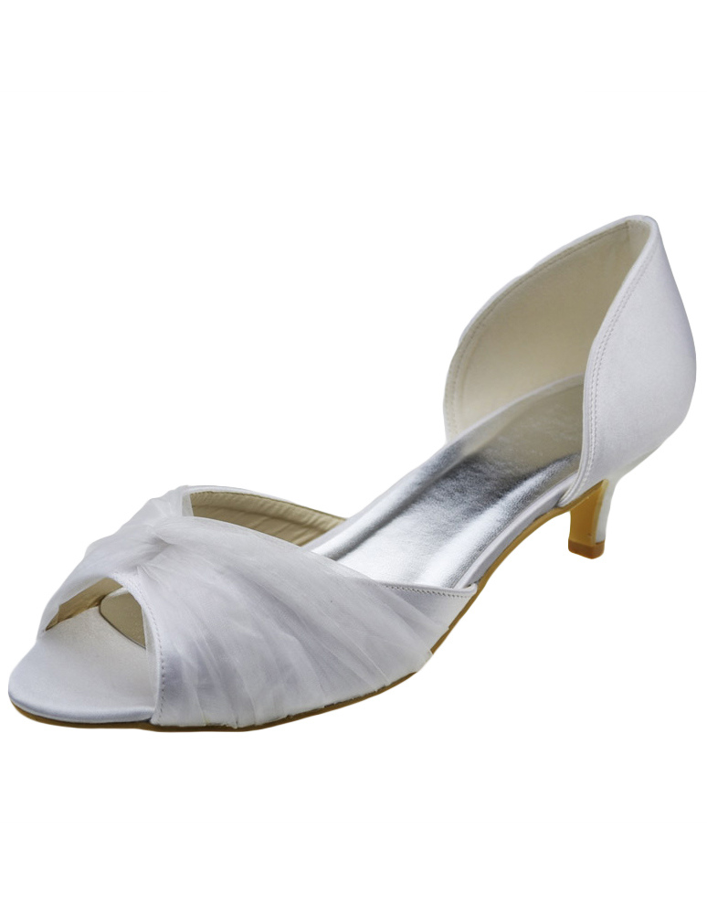Buy White Bow Peep Toe Silk And Satin Sparkling Evening and Bride's Sandals for $80.74 in Milanoo store