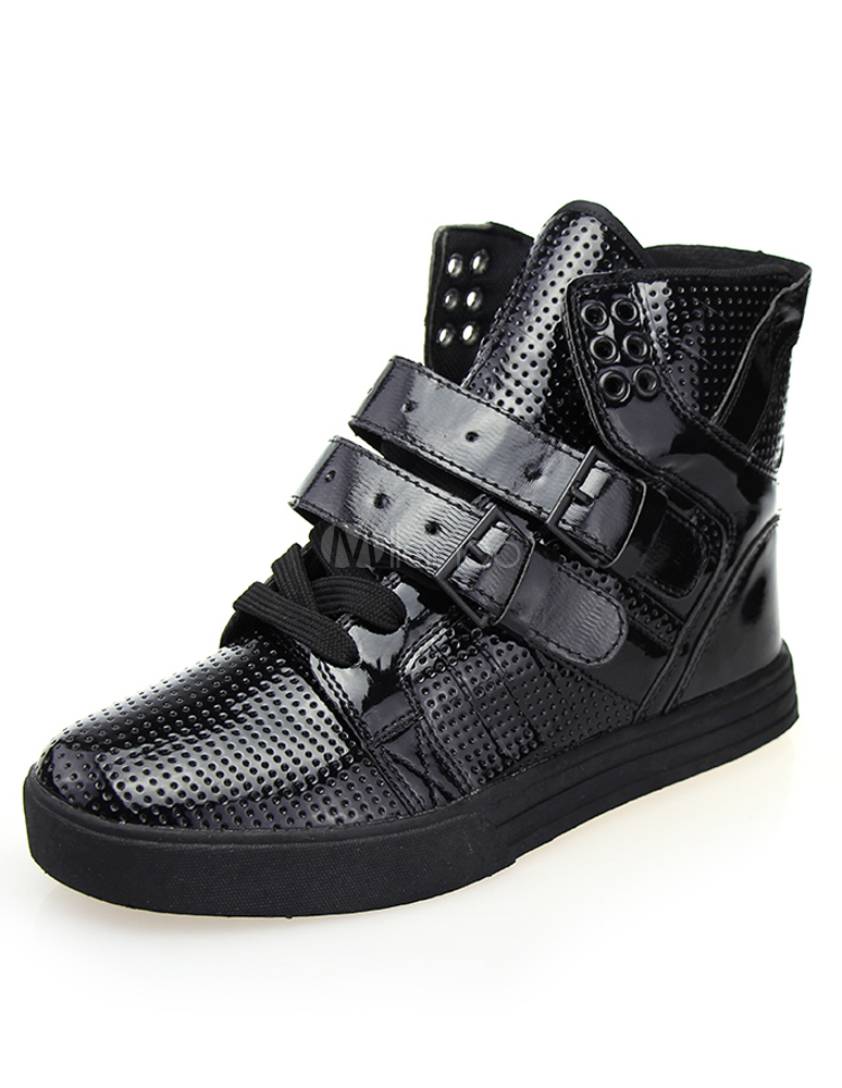 Buy Black Round Toe Lace Up PU Leather Sneakers for Men for $23.74 in Milanoo store