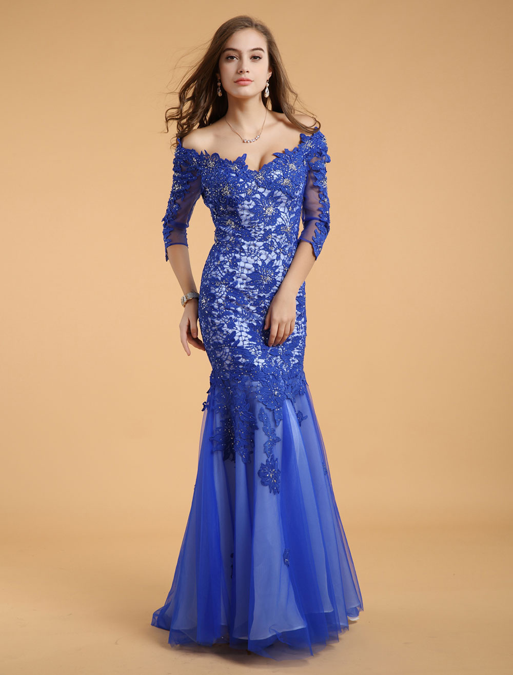royal blue bateau neck beading mermaid lace evening dress with 3 4 length sleeves. Black Bedroom Furniture Sets. Home Design Ideas