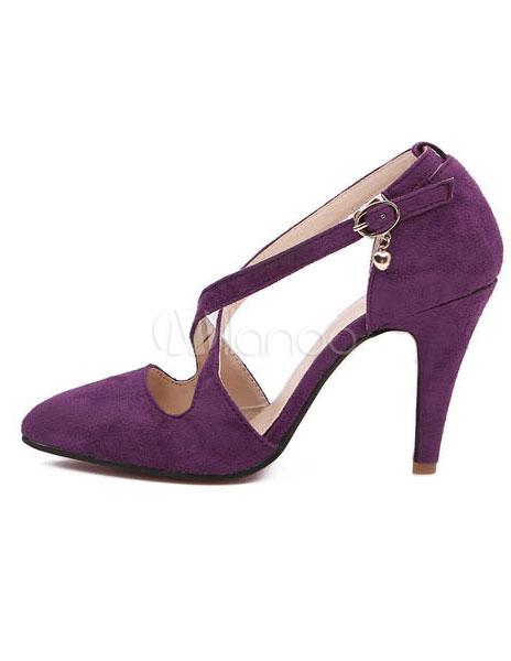 Zapatos puntiagudos de felpa morada gIcS5VrbWv