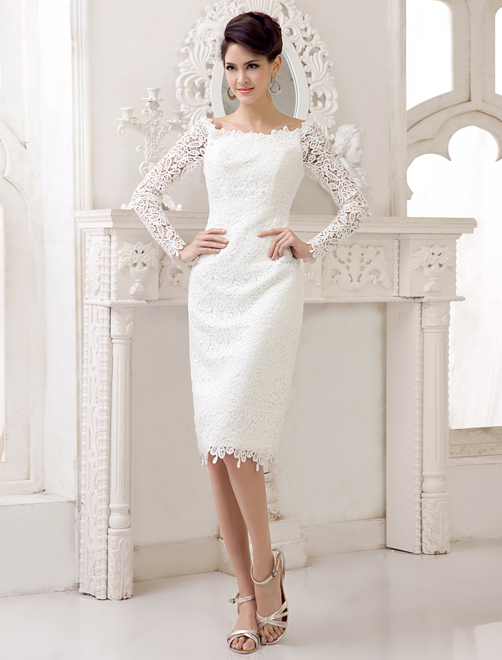Short Simple Wedding Dresses 2020 Lace Long Sleeve Slit Ivory Knee Length Bridal Reception Dress Milanoo
